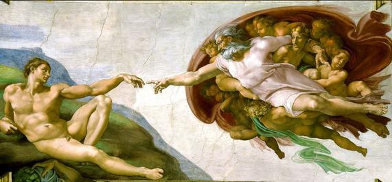 """""""Die Erschaffung Adams"""" Michelangelo, zwischen 1508 und 1512, Deckenfresko in der Sixtinischen Kapelle, Petersdom Rom,    Mittels seines Zeigefingers lässt Gott den Lebensfunken auf Adam überspringen."""