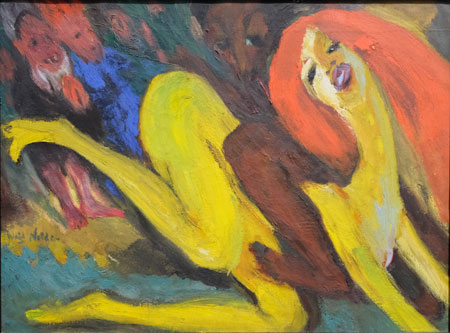 """Emil Nolde 1867 -1956 Tolles Weib, 1919. Exemplarisch für Noldes Adaption einiger seiner in Hallig Hooge entstandenen Aquarell-Motiven auf Leinwand in Ölfarbe, steht das  unbetiteltes Aquarell """"Die Tänzerin"""". Es diente zur Vorlage des Motivs: """"Tolles Weib"""", 1919. Sie, die mit einem nach oben gereckten Bein auf allen vieren kniet, umspielt ein gewisser Hauch wilder Rohheit, aber noch nicht entfesselt, was sich auch in der bräunlichen Farbgebung ausdrückt. Erst im Gemälde Tolles Weib hat Noldes Figur alle Zurückhaltung abgelegt. Nolde Stiftung Seebüll. Foto: Diether v. Goddenthow"""