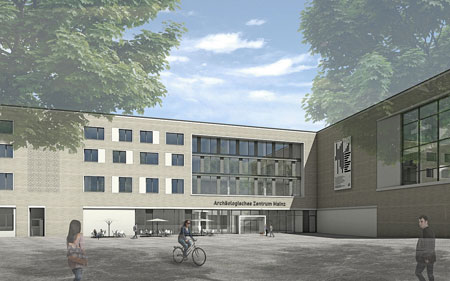 Visualisierung des neuen Archäologischen Zentrums. Hier Blick über den geplanten Gemeinschaftsplatz Foto: LBB Architekten Bernhardt + Partner.