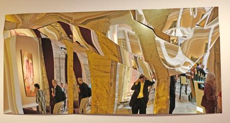 Axel Anklam. Diptychon, o.T. 2017 Edelstahl, titanbeschichtet 240 x 113 x 10 cm. Foto: Diether v. Goddenthow