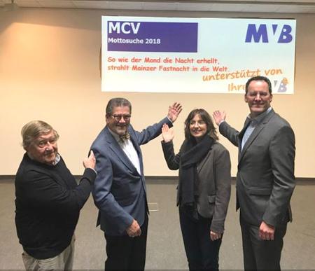 Von links: MCV-Ehrenpräsident Dr. Rudolf Henkel, MCV-Präsident Reinhard Urban, MVB-Generalbevollmächtigte Barbara Bug-Naumann und der Oberbürgermeister der Stadt Mainz, Michael Ebling.  © Agentur Bonewitz