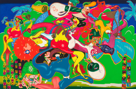 Peter Saul Saigon, 1967, Acryl, Öl, Emaille und Tinte auf Leinwand /  236,9 x 361,3 cm. Whitney Museum of American Art © Peter Saul Photo: Sheldon C. Collins