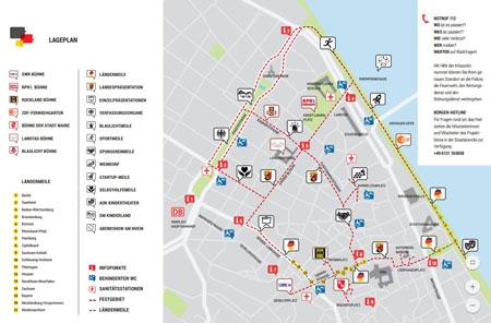 Klicken Sie auf den Lageplan des Bürgerfestes zum Download anlässlich des Tages der Deutschen Einheit in Mainz am 2. u. 3. Oktober 2017.  © Staatskanzlei RLP