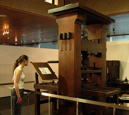 Der rekonstruierte Nachbau der Gutenberg-Presse. © Gutenberg-Museum