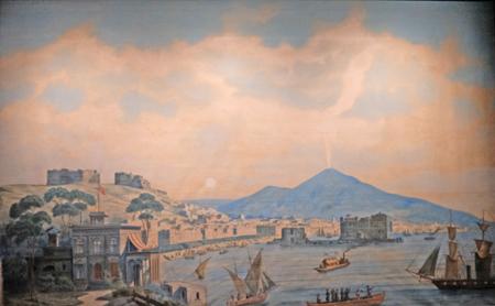 """Restaurierte semitransparente, beidseitig bemalte Leinwand mit den Motiven """"Sonnenuntergang im Golf von Neapel"""" und """"Vulkanausbruch des Vesuv"""", die mit samt wechselnder Stimmungen zum Leben erweckt werden kann. Das Gold des Regenwaldes,  G.-M. Salgé um 1939.  Foto: Diether v. Goddenthow"""