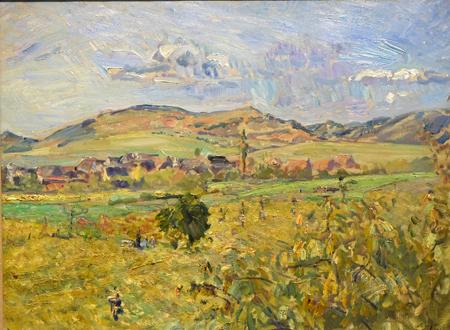 Max Slevogt (1866 - 1932). Landschaft mit Dorf und Bergen (Pfalzlandschaft), 1913, Öl auf Leinwand. Foto: Diether v. Goddenthow