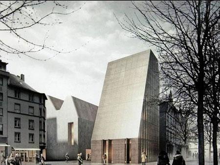 """Beplanter """"Bibelturm"""" des neuen Gutenberg-Museums erneut in der öffentlichen Diskussion."""