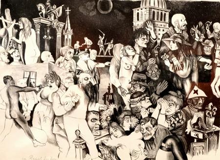 """Direkte, ironische, wütende, anklagende und oftmals auch prophetische Werke verdeutlichen den Kampf um die Demokratie, zeichnen das Bild einer Gesellschaft in der Krise, mitunter in ihrer Orientierungslosigkeit und im Übergang, besonders beispielhaft und drastisch dargestellt in Karl Hubbachs Werken, hier: """"Im Rausch des Irrens"""", um 1923. Foto: Diether v. Goddenthow"""