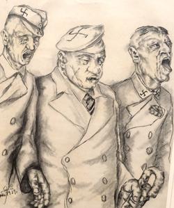 Gerd Graetz. Johlende Nationalsozialisten, 1929. Bleistiftzeichnung auf Papier. Foto: Diether v. Goddenthow