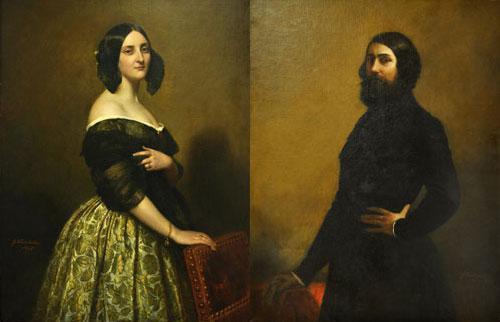 Franz-Xaver-Winterhalter Comte und Comtesse de-Nieuwerkerke. Die doppelte Sissi, links in Verkleidung mit Bart.