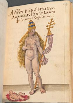 """Aquarell """"Päpstin Johanna"""", die lt. Legende, als Mann verkleidet, bei einer Prozession ein Kind gebar. in:Thesaurus Picturarum - Ende 16.Jhrd.  Foto: Diether v. Goddenthow"""