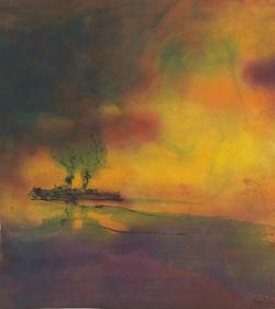 Emil Nolde, Meer mit Dampfer, ca. 1945-48, Aquarell und Tusche auf Japanpapier, 24 x 21 cm