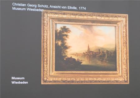 """Christian Georg Schütz """"Ansicht von Eltville"""" , 1774. Foto von der Wandprojektion: Diether v. Goddenthow"""