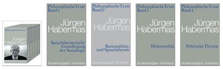 Am 18. Juni 2009 feierte der Philosoph und Soziologe Jürgen Habermas seinen 80. Geburtstag. Zu diesem Anlaß hatte er eine systematische Auswahl von wichtigen Texten zusammengestellt, einige davon bislang unveröffentlicht, die den philosophischen Kern seines umfangreichen Werks freilegen. Die Bände, im Suhrkamp-Verlag erschienen, können auch einzeln erworben werden.