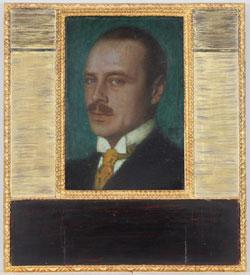 Franz von Stuck (1863-1928) Porträt Großherzog Ernst Ludwig von Hessen und bei Rhein, um 1907 Öl auf Karton, Holzrahmen (geschnitzt, vergoldet, schwarz bemalt), 35 x 24,5 cm (52 x 46,5 cm), Institut Mathildenhöhe / Städtische Kunstsammlung Darmstadt