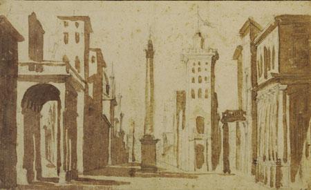 Jacques Callot Entwurf für eine Theaterdekoration nach italienischer Art in der Mitte eine Säule um 1618. Schwarze Kreide, Pinsel und braune Lavierung. Foto: Wolfgang Fuhrmannek, HLMD