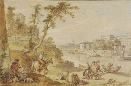 Charles-Joseph Natoire Der Hafen Ripa Grande in Rom. Foto: Wolfgang Fuhrmannek, HLMD