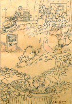 Carl Barks: Dagoberts Bad im Geld II. © Disney Courtesy Sammlung Brockmann & Reichelt. Foto: Ursula Rudischer
