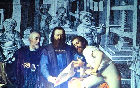Gutenberg-Werkstatt-Impression des 15. Jahrhunderts.
