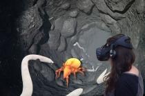 Mit Hilfe der VR-Brille die Tierwelt im Boden entdecken – im Senckenberg Naturmuseum Frankfurt. Copyright: Uwe Vaartjes