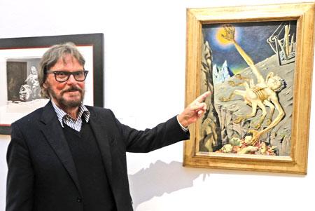 """Der Kunstmäzen Frank Brabant, bei seinem 80.Geburtstag am 11.April 2018, vor Rudolf Schlichters (1890 - 1955) Werk """"Der Würger"""" von 1938.© Foto: Diether v. Goddenthow"""