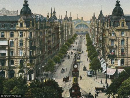© Kaiserstraße mit Blickrichtung Hauptbahnhof um 1910 (ISG S17/550-12)