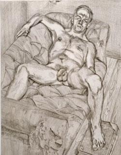 Lucian Freud. Posierender Mann 1985. Radierungauf Velin.Foto: Diether v. Goddenthow