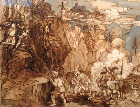 """Carl Philipp Fohr. """"Götz von Berlichingen reitet ins Zigeunerlager"""", 1817. Mit diesem Blatt bezieht scih Fohr auf eine Szene aus Goethes 1774 uraufgeführtem Drama """"Götz von Berlichingen mit der eisernen Hand"""". Besonders interessant zu betrachten ist hier Fohrs künstlerische Weiterentwicklung unter Einfluss seines Lehrers Joseph Anton Koch in Rom. © Foto: Diether v. Goddenthow"""