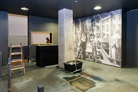 Die Gutenberg-Werkstatt im Neuaufbau. Foto: Markus Kohz © Gutenberg-Museum