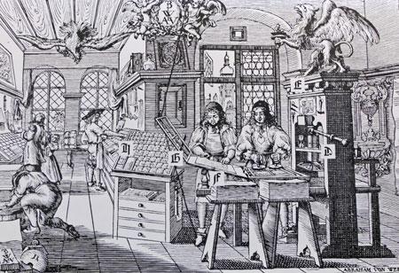Buchdruckwerkstatt, 1646 Abraham von Werdt, Gutenbergmuseum GS 2017 © Gutenberg-Museum