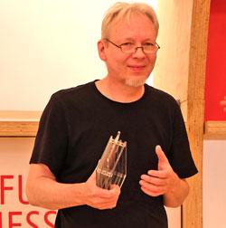 Martin Perscheid erhielt  Platz 3. Es sei ein sehr guter, auch technisch perfekter Cartoon, dessen Pointe zielgenau treffe, so  die Jury. © Foto: Diether v. Goddenthow