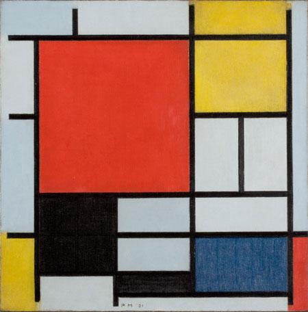 Piet Mondrian, Komposition mit großer roter Fläche, Gelb, Schwarz, Grau und Blau, 1921. Sammlung Gemeentemuseum Den Haag, Den Haag, Niederlande