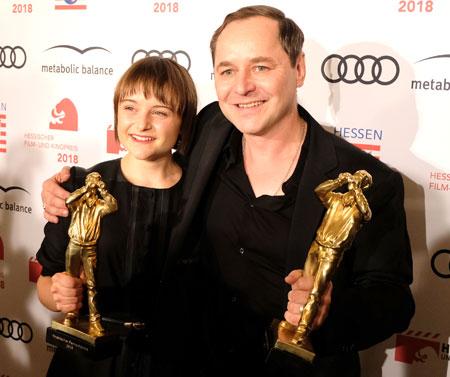 """Beste Schauspielerin: Lena Urzendowsky  und Bester Schauspieler Thomas Schmauser. beide für ihre Rollen in """"Der große Rudolph"""" © Foto: Diether v. Goddenthow"""