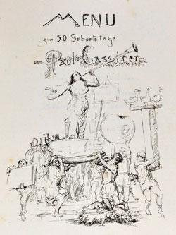 Max Slevogt, Menü zum 50. Geburtstag von Paul Cassirer, 1921,  Lithografie, GDKE/ Landesmuseum Mainz/ Slevogt Archiv, Grafischer Nachlass © GDKE - Landesmuseum Mainz (Foto: Ursula Rudischer)Landesmuseum Mainz, Große Bleiche 49-51.