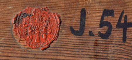 """Wenzel Ignaz Brosch """"Hirschjagd"""", Detail der Rückseite mit J-Nummer und Siegel. © GDKE – Landesmuseum Mainz (Foto: Ursula Rudischer)Landesmusem Mainz,"""