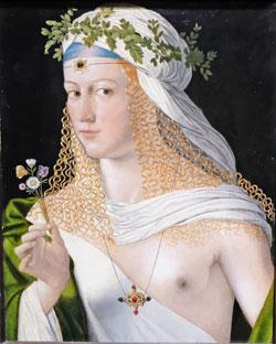 Bartolomeo Veneto. Idealbildnis einer jungen Frau als Flora, ca. 1520. Öl auf Pappelholz. Städel Museum. © Foto: Diether v. Goddenthow