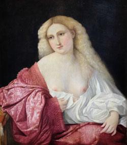 "Junge Frau, genannt ""La Cortigiana"", ca. 1520 - 28, Öl auf Leinwand. Mailland, Museo Poldi Pezzoli.© Foto: Diether v. Goddenthow"