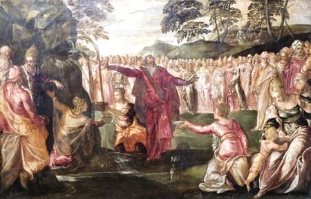 Jacopo Tintoretto und Werkstatt, ca. 1555. Moses schlägt Wasser aus dem Felsen. Städel Museum. © Foto: Diether v. Goddenthow