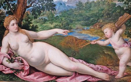Paris Bordone, 1545 - 1560. Venus und Amor. Öl auf Leinwand. Warschau, Muzeum Narodowe. © Foto: Diether v. Goddenthow