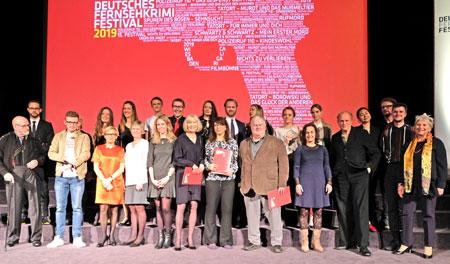 Abschlussbild aller Beteiligten des 15. Fernsehkrimifestivals in der Caligari FilmBühne am 15. März 2019 © Foto: Diether v. Goddenthow