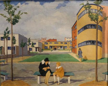 Hermann Treuner, Die Römerstadt, 1929. Öl auf Leinwand. Deutsches Architekturmuseum, Ffm. © Foto: Diether v. Goddenthow