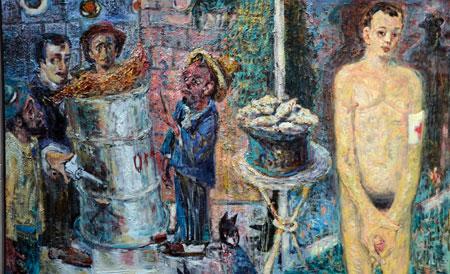 Harald Reiner Gratz: Porträt Tom Waits (aus der Serie Hinter den Spiegeln), 150 x 240 cm, Öl auf Leinwand 2018. © Foto: Diether v. Goddenthow