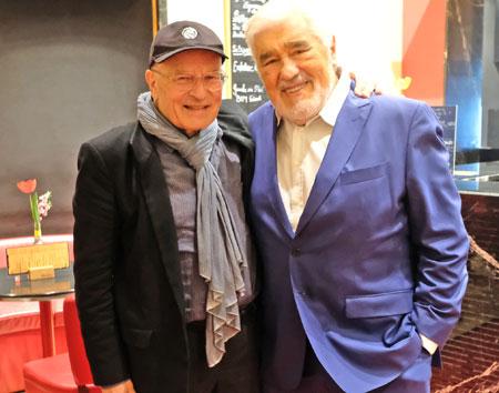 Volker Schlöndorff mit Weggefährten und Freund Mario Adorf im Foyer der Caligari Filmbühne. © Foto: Diether v. Goddenthow