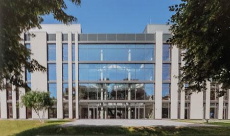 So soll das fertige neue neues lebenswissenschaftliches Zentrum von der Ostansicht (Botanischer Garten) einmal aussehen. Animation © JGU