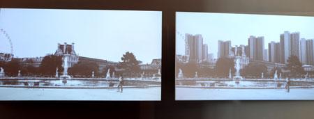 Paris heute und das Paris  eines Le Corbusiers: Auf der linken Leinwand werden Orte vom heutigen, historisch erhaltenen Paris gezeigt. Die rechte Leinwand zeigt parallel den gleichen Ort  mit Hochhausbebauung. © Foto: Diether v. Goddenthow