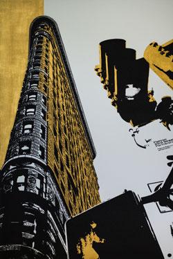 Tim Bengel, New York Inspiration VI, 2018, Sand und Blattgold auf Aluminium, 202 x 135 cm