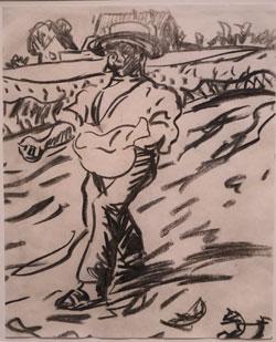 Van Gogh wird auch Vater der Moderne genannt , da er zum Vorbild wurde. Hier Nachzeichnung des van Gogh'schen Sämanns von  Ernst Ludwig Kirchner, der sich motivisch eng an sein Vorbild anlehnte. © Foto: Diether v Goddenthow