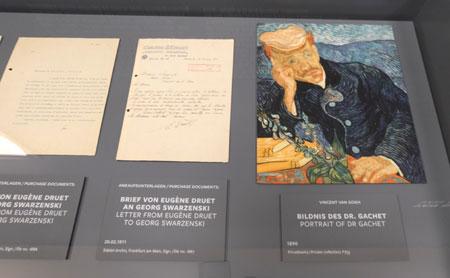 Darstellung der Historie Bildnis des Dr. Gachet (1890), das zum Aushängeschild des Museums und 1937 von den Nazis beschlagnahmt wurde und seitdem verschwunden ist. © Foto: Diether v Goddenthow