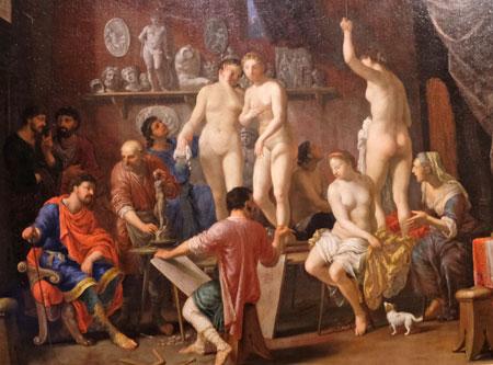 Johann Heiss (1640 - 1704) Aktsaal mit fünf  weiblichen Modellen, 1687 ©  Foto: Diether  v Goddenthow.