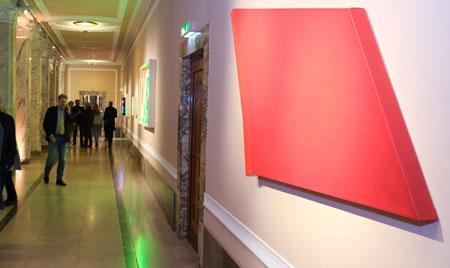 Rita Rohlfing. R.o.T. 2018 Acryl- und Ölfarbe auf Leinwand. 113 x 188 x 5 cm ©  Foto: Diether  v Goddenthow